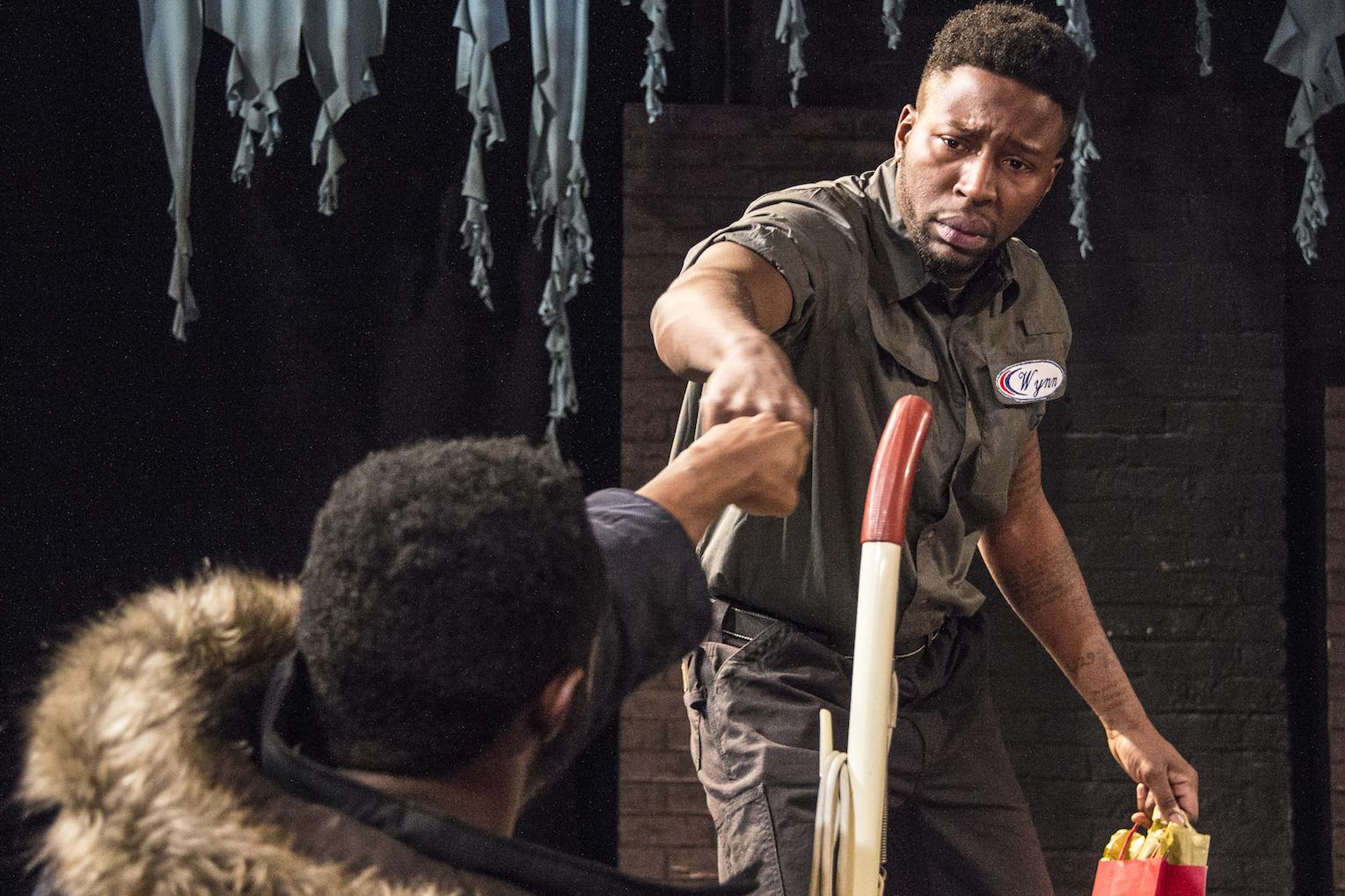 Know Theatre presents BLACKTOP SKY - Kameron Richardson as Klass - Landon Horton as Wynn - Photo by Daniel R. Winters Photography